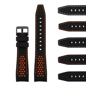 StrapsCo Rubber Perforated Rally Watch Strap Band w/ Curved Ends & Black Buckle