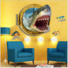 3D Shark Vinyl Decal Kids Room Home Decor Ocean Mural Removable Wall Sticker Art