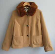 Laura Ashley Womens XL Camel Tan Coat w/ Removable Faux Fur Collar Dress LOVELY