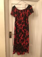 aa550b0c New Zara Woman Red Floral Off The Shoulder Smock Top Midi Dress,L