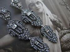 ART DECO riesige Ohrhänger silber Simili Brillanten Earrings Ohrringe 10 cm !!