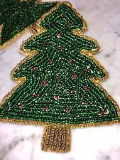 Nicole Miller BEADED COASTERS. SET OF 4.  CHRISTMAS TREE. BEAUTIFUL. Brand New