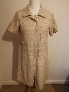 Vintage Size 16 Brown Linen Look Short Sleeved A Line Midi Tea Dress