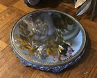 Antique Ornate Victorian Plateau Round Floral Footed Vanity Tray Beveled Mirror