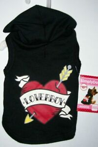 NWT Simply Dog Loverboy Lover Boy black hoodie  with heart XXS or XS