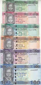SOUTH SUDAN 1 5 10 20 50 100 POUND 2011 2015 2017 2019 P-NEW UNC LOT SET