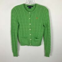 Ralph Lauren Sweater Cardigan Cableknit Fisherman Size XS Green Cotton Womens