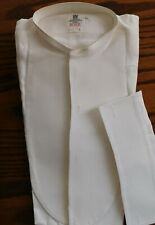 Starched tunic dress shirt Richard Hunt size 15 vintage collarless Marcella A