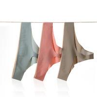 Womens Seamless Panties Ice Silk Soft Thongs G-string Lingerie Briefs Underwear