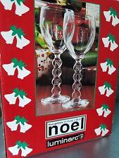"LUMINARC CRYSTAL NOEL set of 4 FLUTES - Christmas ""Noel"" Glassware. NIB"
