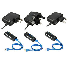 LED 4 Ports USB 3.0 HUB On/Off Switch Power Adapter Cable For PC Laptop Desktop