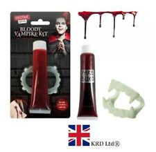 VAMPIRE FANGS TEETH & FAKE BLOOD SET Halloween Dracula Fancy Dress OTL318989 UK