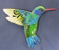 Hummingbird Painted  Metal Wall Plaque In/Outside Home Decor (A)