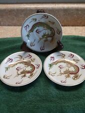 3 Vintage Sterling China Japan Moriage Dragon Demitasse  Saucer Hand Painted!