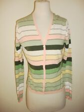 Studio M Cardigan button down Jacket Button down Pink green white stripe Medium