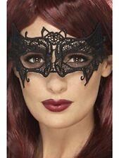 Embroidered Lace Filigree Bat Eye Mask ~ Black