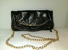 JOSEPH CHARLES FOLDOVER CROSSBODY EVENING BAG  BURGUNDY LEATHER GOLD TONE CHAIN