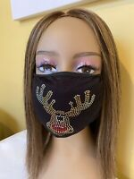 Christmas Rudolph The Red Nose Reindeer Rhinestone Bling Face Mask With Filter