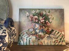 Vintage Floral Still Life Oil Painting on Canvas Signed P.Kelland