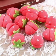 New 12pcs Foam Strawberry Balls Soft Sponge Hair Curlers Rollers Bun Round TH