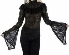 Killstar Dolls Kill Morte Mistress Gothic Pinup Batwing Lace Top Sz XS