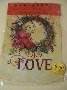 "Evergreen Love Decorative Garden Flag 12"" x 18"" Hearts Birds Suede Reflections"