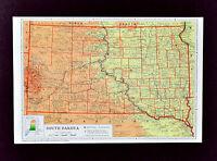 1958 McNally Map - South Dakota - Pierre Black Hills Rapid City Mt. Rushmore