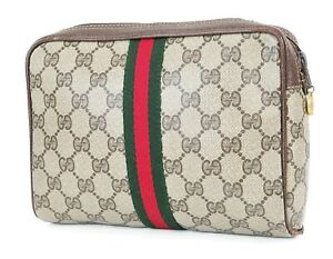 Auth Vintage GUCCI Brown Canvas and Leather Cosmetics Bag Clutch Pouch #38308