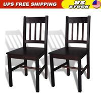 2 pcs Dining Room Chairs Dark Brown Wooden Kitchen Seat Home Furniture Backrest