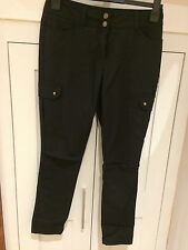 Black Cut Out Knee Casual Trousers with Stretch - UK Size 12   28L