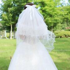 4Layered Wedding Veil Handmade Beaded Bowknot Decor Agaric Wavy Trim Bridal Veil