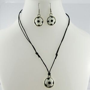 2pce Resin Cabochon Soccer Necklace and Earring Set Sports Gift