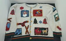 Ugly Christmas Sweater  Womens size S tan with decorative patches