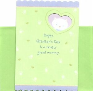Happy Mother's Day Mommy From White Kitty Cat  Hallmark Greeting Card