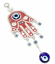 Turkish Blue Evil Eye Red Hamsa Hand Amulet Wall Hanging Blessing Protection