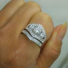 2.5 ct round cut 14k white gold over white dvvs1 diamond wedding ring set gift