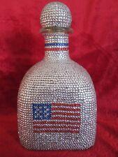 Patron Bottle Rhinestones American Flag Shot Glass Set Bar Collectible Decanter