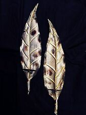 Pair of Pillar Candle Holder Metallic Paint Wall Sconce Mounted Leaf Wall Decor