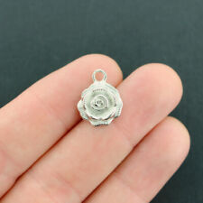 12 Rose Charms Antique Silver Tone 3D Flower - SC4199