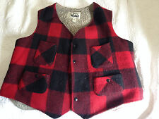 WOOLRICH Hunting Hiking Sherpa Lined Vest Plaid