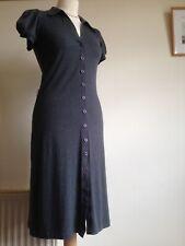 TWENTY ONE Jersey Shirt Dress L/G Approx UK 8 10. Charcoal Grey Rayon Blend