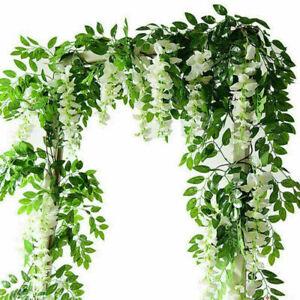 2Pcs 7ft Artificial Wisteria Vine Garland Plant Foliage Trailing Flower Home