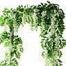 2Pcs 7ft Artificial Wisteria Vine Garland Plant Foliage Trailing Flower Home
