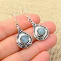 Aquamarine 925 Silver Blue Ethnic Teardrop Drop Earrings Indian Jewellery