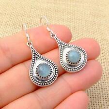 Aquamarine 925 Silver Blue Ethnic Teardrop Drop Earrings Indian Jewellery