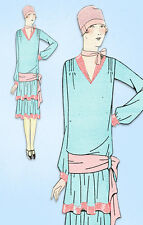 1920s VTG Ladies Home Journal Sewing Pattern 5455 Uncut Flapper Party Dress 34 B