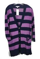 Sejour Womens Navy Purple Striped Button Up Vneck Cardigan Size 1X NEW