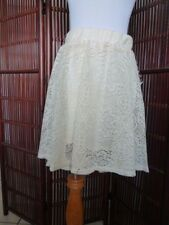 New BONGO Juniors Solid Ivory Asymetrical Polyester Casual Lace Skirt M
