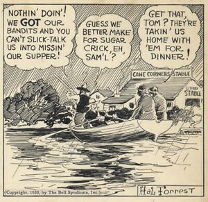 HAL FORREST Original TAILSPIN TOMMY Daily Comic Strip ART—Tommy & Skeeter, 1930