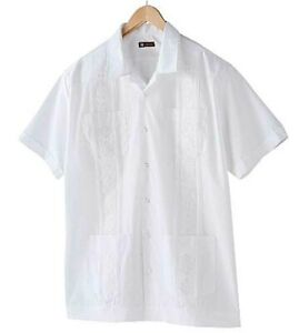 CENTRO Embroidered Guayabera Poly/Cotton Mexican Wedding Shirt, Color Ivory